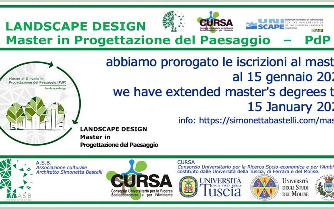 Master in Progettazione del Paesaggio_PdP. Iscrizioni prorogate al 15 gennaio